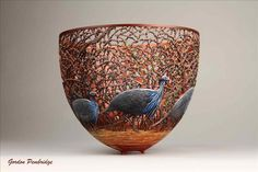 Hand Carves Delicate Nature Scenes Into Wooden Bowls by Gordon Pembridge - ArtPeople.Net