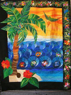 Claudia Pfeil Art Quilt:- Parrot's Island