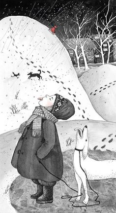 "How to Handle a Child (aka ""my childhood"" series) - illustration by Sveta Dorosheva Illustrations And Posters, Children's Book Illustration, Fanarts Anime, Winter Art, Whimsical Art, Inktober, Folk Art, Art Drawings, Sketches"