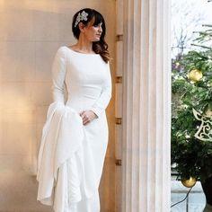 691ee13f2c5 Style 8936  Crepe Long Sleeve Wedding Dress with Beaded Illusion Back