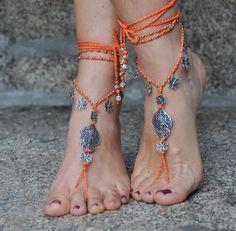 "Valentine's day ""Heart of viana"" BAREFOOT SANDALS ORANGE foot jewelry hippie sandal anklet crochet barefoot sandals portuguese jewelry"