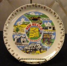 """Souvenir New Mexico Plate 7 1/2"""" with plate hanger"""