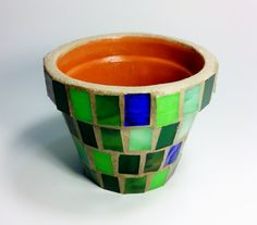 Mosaic Stained Glass 4 inch Terracotta Planter Flower Pot, Free Shipping, Ready to Ship Gift Idea