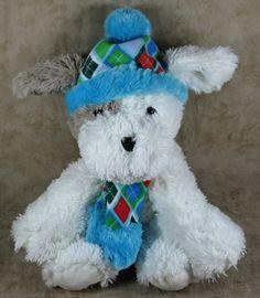 "Hugfun 12"" White Plush Puppy Dog Trey Blue Hat & Scarf Stuffed Animal Toy #hugfun"