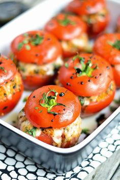Caprese-Style Stuffed Tomatoes with Balsamic Reduction by applesandsparkle #Stuffed_Tomatoes #Mozzarella #Healthy