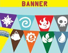 Skylanders Birthday Pennant Banner - Skylanders Party Banner Instant Download