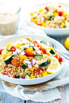 Summer Vegetable Quinoa Salad is full of nutritious veggies and then topped with a homemade lemon vinaigrette. It is perfect for potlucks or summer picnics!