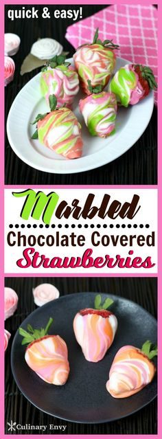 Marbled Chocolate Covered Strawberries are colored candy melts dipped onto luscious, fresh strawberries. A fun dessert, delicious snack & a pretty homemade gift that kids love to make! Click to read more!