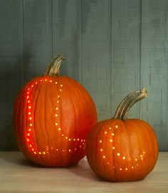 Drilled Shapes | Cowboy Boot and Moon Pumpkin Carving | Happy Halloween !! | Fall Decor | www.countryliving...
