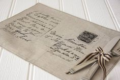 set of two linen postcard placemats by lucie pritchard | notonthehighstreet.com