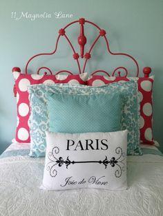 K- colors  Hot pink headboard and polka dot pillows - minus the paris pillow
