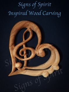 Music Heart-Treble Bass Clefs within Heart Shape Wood Carving for Music Lovers, Teachers and Artists Best Wood Carving Tools, Wood Carving Designs, Wood Carving Patterns, Wood Carving Art, Music Heart, Carved Wood Signs, Music Decor, Music Lovers, Pattern Art