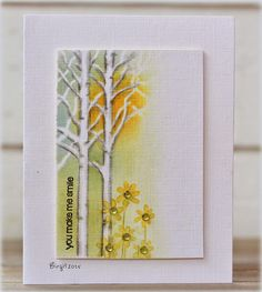 The theme challenge on Less is More´s blog this week is SUNSHINE! Here´s my card using a stencil, Birch Landscape, from Pyssloteket anda flower stamp, Enamor, from Penny Black! Thanks!