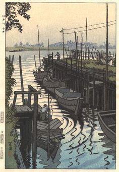 Edogawa River at Imai  by Shiro Kasamatsu, 1955