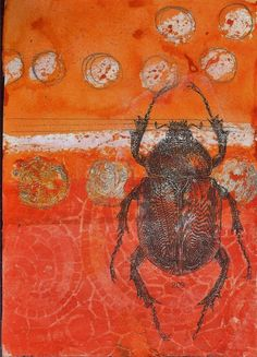 Sue Brown Printmaker. I love this beetle it's so detailed and the colour of the background are great. Insect Art, Collagraph, A Level Art, Nature Artists, Artist Sketchbook, Print Artist, Wood Print, Gcse Art, 2d Art