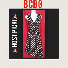 Host Pick!NWOT BCBGMaxAzria  Marked down from $42, originally $198!Absolutely perfect for the workplace right into happy hour! Ideal for taller gals. This dress is super sleek and incredibly comfortable. Red white and black stripes throughout, and an angled stylish hem. Marked XS but is a very stretchy material, and would fit between that and S at least, to M too! Never worn except to take photo for Posh. Took tags off and decided it wasn't for me. BCBGMaxAzria Dresses
