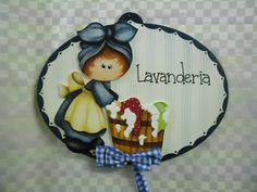 Placa lavanderia menina | Artesanatos Ingrid Carvalho | 1C2F46 - Elo7