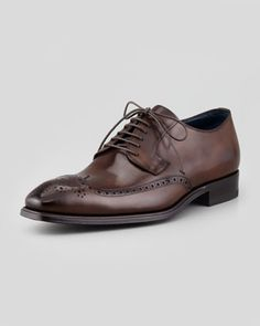 Leather Wing-Tip Derby Shoe by Stefano Branchini at Bergdorf Goodman.