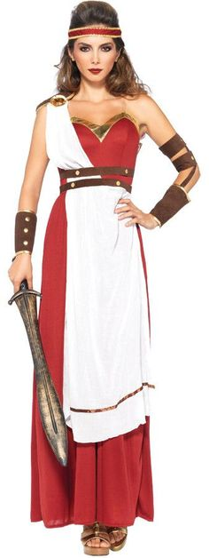 Red dress with golden trim and white drape with attached belt comes with arm wraps and matching headband. Fits adult women's sizes 10-14.