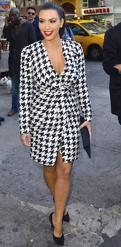 Only Kim can make houdstooth that sexy