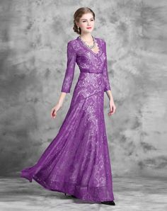 Check the details and price of this Lace Floral Wasp-waisted Maxi Dress (Purple, FeiHua. LIAN ) and buy it online. VIPme.com offers high-quality Party Dresses at affordable price.