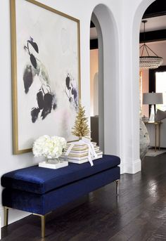 Yule style!! Noel Christmas!! GORGEOUS INDIGO dark blue velvet bench in the Modern Contemporary Front Hall, Foyer! Simply Christmas Home Tour - Featuring Decor Gold Designs
