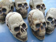 4 Ceramic Beads  Large Highfired Skull Beads  long jaw