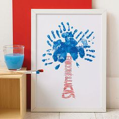 Cute idea for Father's Day DIY gift - tree trunk hand prints