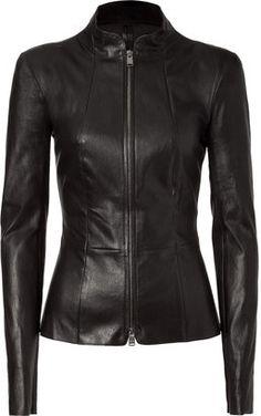 POPSUGAR Shopping: Jitrois Black Padded Shoulder Stretch Leather Jacket