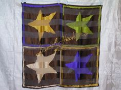 Daniel Hechter Paris Satin/Chiffon Silk Scarf Multi-Color 4 Stars True Vintage