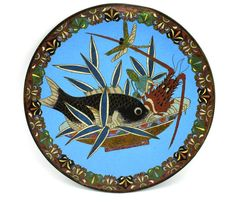 "Antique Chinese 12"" Cloisonné Plate Fish Lobster Dragonfly Bowl Blue Clouds #weboys10"