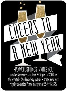 Dapper Cheers - Corporate #Holiday Party Invitations in black, white and gold.