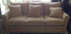 """La-Z-Boy sleep sofa. Comfy couch with plump cushions folds out into a queen size bed for guests. Gold herringbone mohair fabric. 82"""" x 36"""" x 33.5"""" tall back. SOLD"""