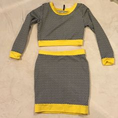 2 piece crop top and matching skirt set Hot black and white fitted sweatshirt like crop top and matching bodycon mini skirt with a pop of yellow trim Good times usa Skirts Skirt Sets
