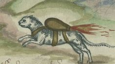 """16th-century manual shows 'rocket cat' weaponry. photo is an illustration from a manual by 16th century artillery master Franz Helm at the University of Pennsylvania library in Philadelphia. The manual on artillery and siege warfare depicts a cat and dove strapped with bombs to """"set fire to a castle or city which you can't get at otherwise."""" (AP Photo/Matt Rourke) ** There is no evidence that this method was ever used **"""