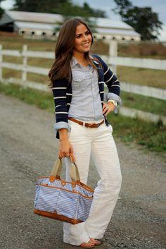 Linen pants, denim button-up, navy cardigan