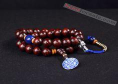 36pcs india lobular red sandalwood beaded bracelet
