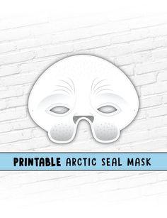 Arctic Seal Mask | White Seal Mask | Photo Prop # #sealmask #printablemask #halloweenmask #partymask #animalmask #sealife #cutemask #kids #pretendplay #photoprop #arcticsealmask #harpseal #circusanimal Printable Halloween Masks, Printable Animal Masks, Animal Themed Birthday Party, Birthday Party Themes, White Seal, Last Minute Costumes, Paper Mask, Mask Party, Cute Creatures