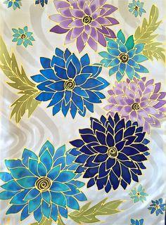 De la mano pintado a mano bufanda de seda bufanda Reversible Fabric Paint Shirt, Fabric Painting On Clothes, Silk Painting, Hand Painted Sarees, Hand Painted Fabric, Painted Silk, Batik Art, Flower Phone Wallpaper, Silk Art