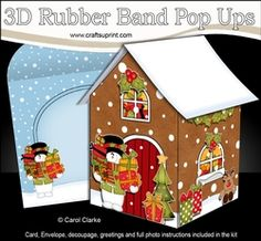3D Rubber Band Pop Up Christmas Card - Snowman Rio Brings Lots Of Presents To The Christmas Gingerbread House