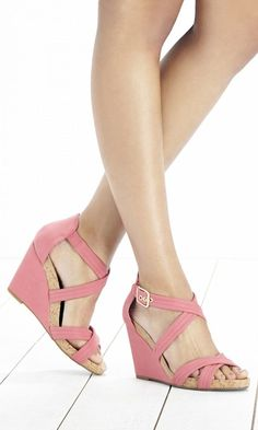 Strappy pink wedge sandal with a comfortable cork platform