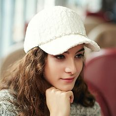 White lace baseball cap for women with pearl