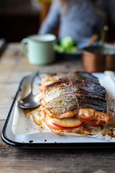 Apple and Fennel Stuffed Salmon with Cider Sauce