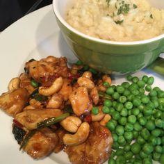 Pittige (hete) kip met ketjap, risotto en cashewnoten