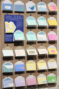 display idea... A nice way to display your cards. Clip the envelope to a cork board and use the envelope as a holder for your cards. This only works for all those top fold cards.
