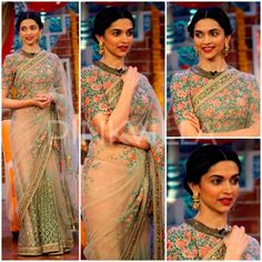 Deepika Padukone on the sets of Comedy Nights with Kapil for promotion of her film Piku. She looked stunning in a gorgeous sheer embellished saree with a high neck half sleeved floral print blouse. #DeepikaPadukone #Piku
