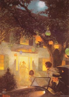 Norman Rockwell And the Symbol of Welcome is Light art painting for sale; Shop your favorite Norman Rockwell And the Symbol of Welcome is Light painting on canvas or frame at discount price. Norman Rockwell Prints, Norman Rockwell Paintings, Peintures Norman Rockwell, Art Quotidien, The Saturdays, Nocturne, Paper Lanterns, Claude Monet, American Artists