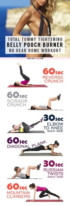 Belly Fat Burner Workout - This killer tummy-cinching routine works magic on muffin tops and that soft belly pooch and will leave your tummy tight and toned in two weeks! Fitness Workouts, Easy Workouts, At Home Workouts, Exercise Workouts, Lower Ab Workouts, Excercise, Training Workouts, Physical Exercise, Workout Tips