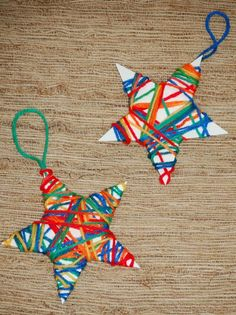 Yarn Wrapped Ornaments, a festive craft for #kids. #ECE