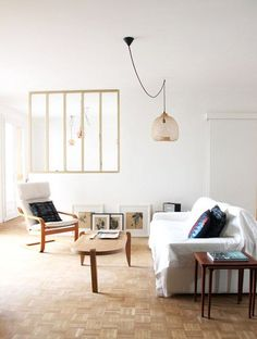 basket pendant lamp in simple stylish living room. / sfgirlbybay